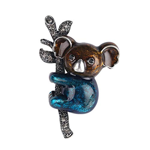 TENDYCOCO Brooches Cute Cartoon Koala Breast Pin Crystal Lapel Badge Bag Clothes Decor for Women Girls