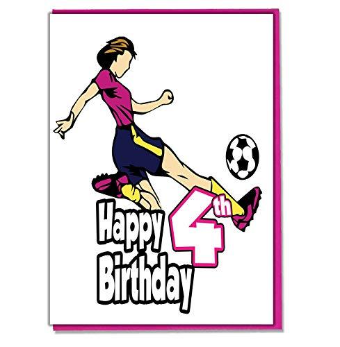 Vrouwelijke voetballer 4e Verjaardagskaart - Meisjes, Dochter, Kleuter, Vriend, Niece, Zuster
