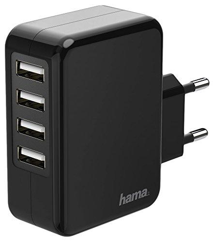 Ladegerät, 4 USB-Ports, 4,8A, Schwarz Schwarz