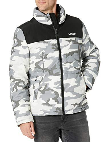 Levi's Men's Arctic Cloth Retro Bubble Puffer Jacket, White Camo, XX-Large