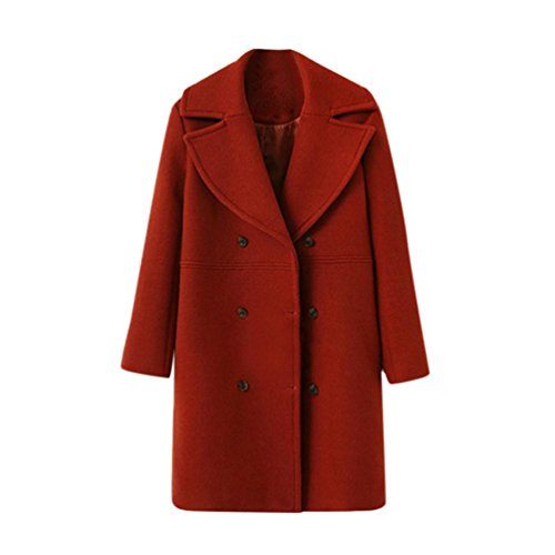 LMMVP Abrigo de Mujer Chaqueta de Mujeres Moda Suelto Invierno Calentar Manga Larga Botón Sólido De Lana Abrigo Outwear Rompevientos Cárdigan (S, Rojo)