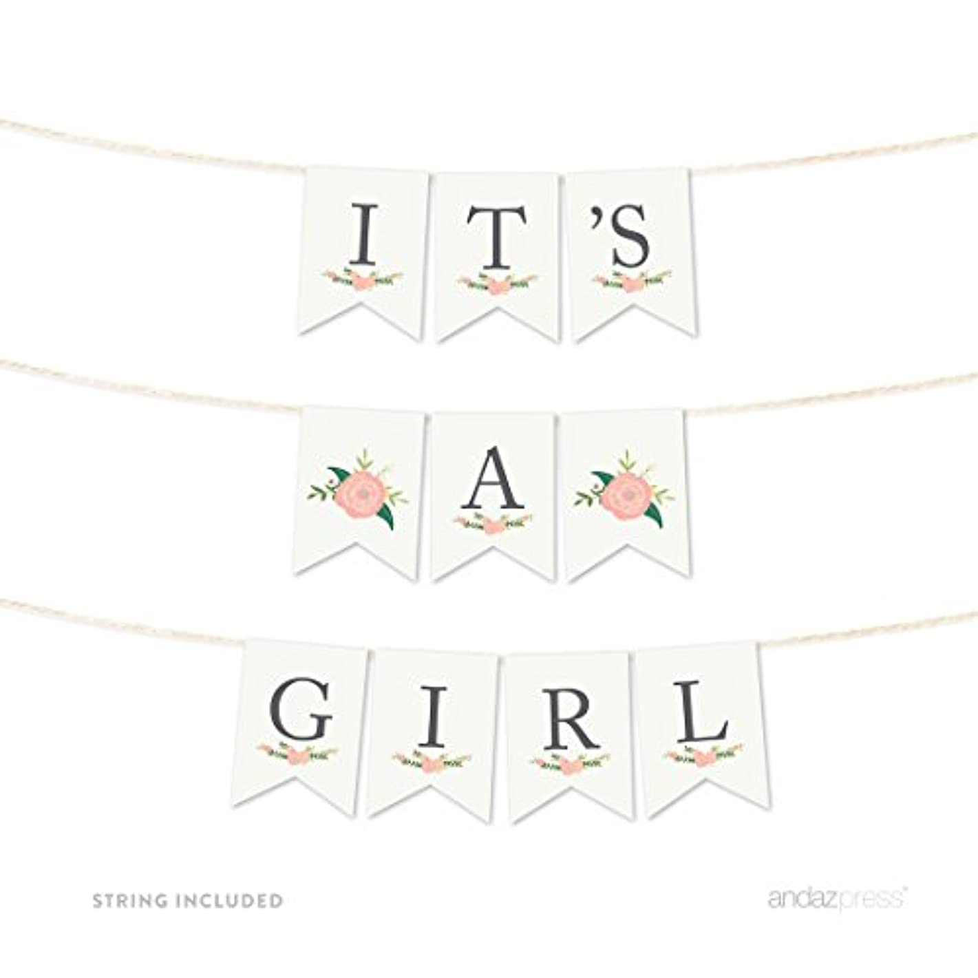 Andaz Press Girl Baby Shower Hanging Pennant Garland Party Banner with String, Floral Roses, It's a Girl!, 5-feet, 1-Set