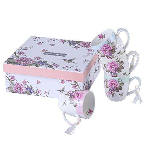 Set di 4 tazze da tè e caffè in porcellana - Design Shabby Chic con uccelli, rose e farfalle in confezione regalo - 330 ml