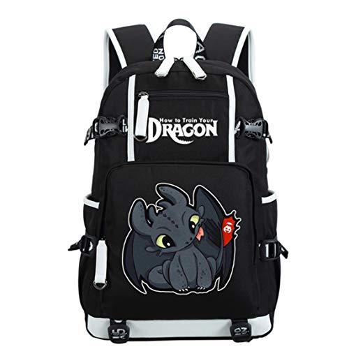 AUGYUESS Mochila escolar para ordenador portátil, para entrenar a tu dragón, color negro 2