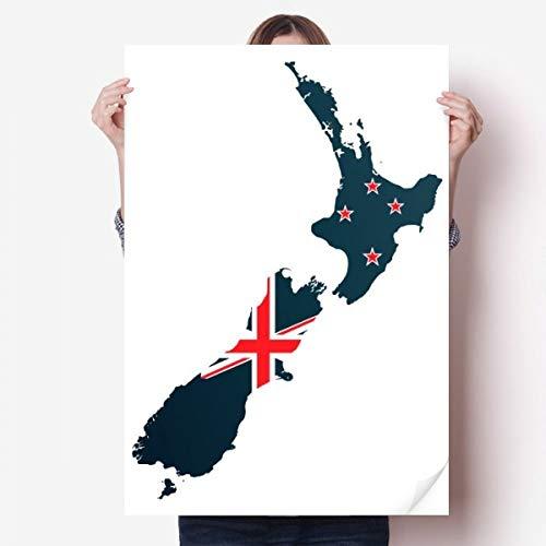 DIYthinker The Flag Island Country Map Nieuw-Zeeland Vinyl Muursticker Poster Mural Wallpaper Room Decal 80X55Cm