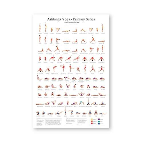 Ashtanga Primary Series Yoga Poster Canvas Art Prints Yoga Room Wall Art Decor Girls Fitness Gifts Gym Art Decoration-50x80cm Sin marco