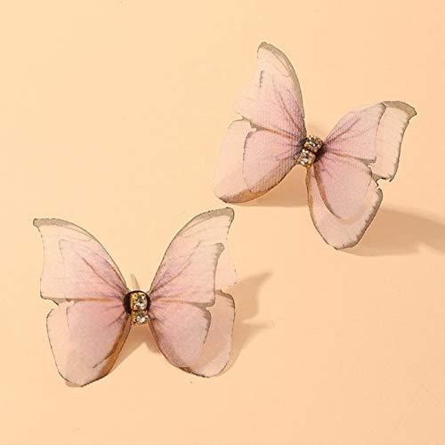 LIUL Hermosos Pendientes de Mariposa Doble para niñas de Verano Europeo, Gran círculo Redondo,...
