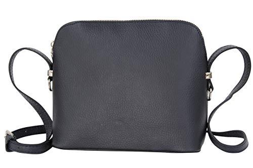 AMBRA Moda GL018 - Bolso de piel italiana para mujer, bolso bandolera de hombro, bolso pequeño (azul marino)