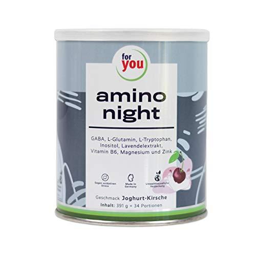 for you amino night Joghurt-Kirsche I Nahrungsergänzungsmittel mit GABA, Lavendel, L-Glutamin, L-Tryptophan & Inositol für den Abend I Pulver 391g versetzt mit Magnesium, Zink & Vitamin B6