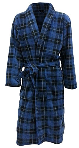 John Christian Men's Fleece Robe Blue Tartan (Large)