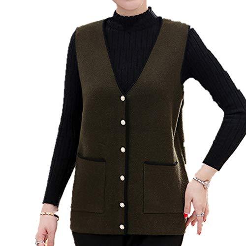 Maglia da donna a maglia con scollo a V Giallo 5X-Large