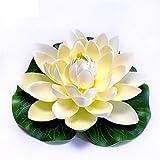 QWEA - Paquete de 6 Flores flotantes Artificiales Impermeables, Flor de Loto para decoración de acuarios de Boda, Colores Surtidos (tamaño: 18 cm)