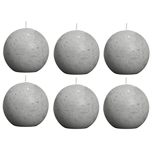 6 Rustic Ball Candles 80 mm Light Grey