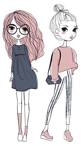 dekodino® Wandtattoo Fashion Mädchen Outfits Pastellfarben Wandsticker Deko