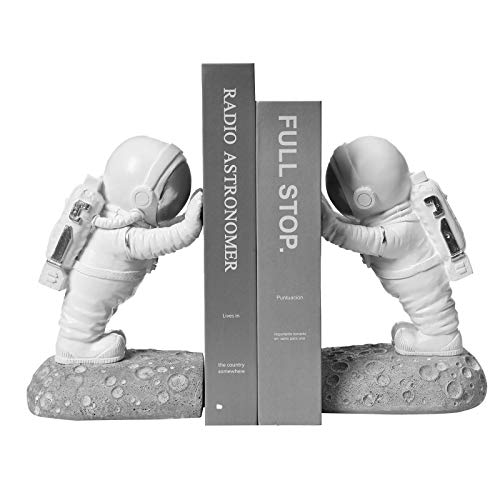 Kakizzy Astronaut Decorative Book Ends, Resin Bookends for Kids White Book...