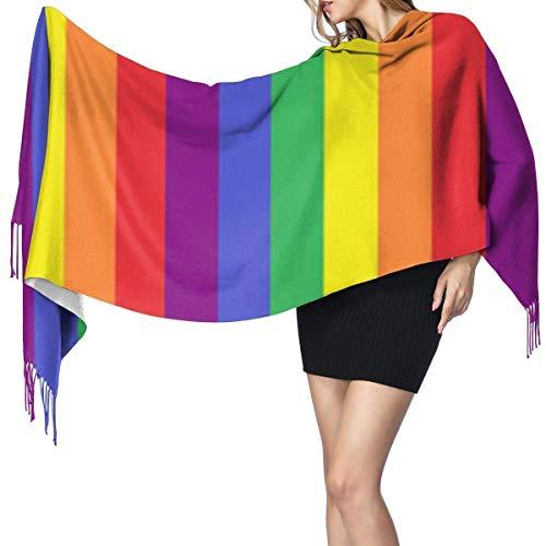 Bufanda grande para mujer con diseño de rayas del orgullo del arco iris gay suave sensación de cachemira, pashmina chales