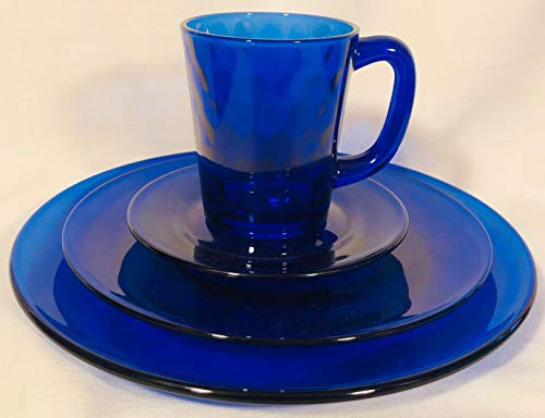 Plain & Simple - Bread/Salad/Dinner Plates & Coffee Mug - Mosser Glass USA - 4 Piece Tableware Setting (Cobalt Blue)