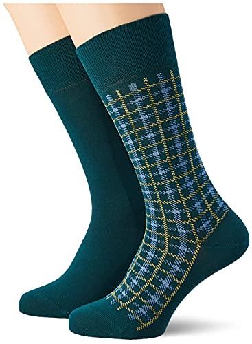 ESPRIT Herren Multic Check 2-Pack M SO Socken, Grün (Petrol 7247), 43-46 (UK 8.5-11 Ι US 9.5-12) (2er Pack)