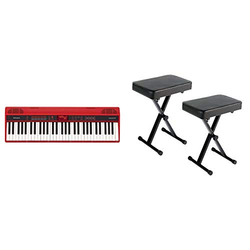 Roland GO:KEYS 61-key Music Creation Piano Keyboard with Integrated Bluetooth Speakers (GO-61K) & YAMAHA PKBB1 Adjustable Padded Keyboard X-Style Bench, Black,19.5 Inches