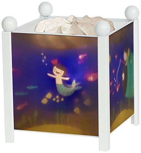 Preisvergleich Produktbild Trousselier - Meerjungfrau - Nachtlicht - Magische Laterne - Ideales Geburtsgeschenk - Farbe Holz weiß - animierte Bilder - beruhigendes Licht - 12V 10W Glühbirne inklusive - EU Stecker