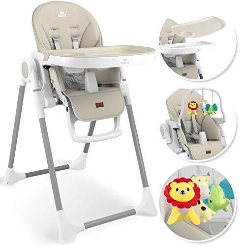 KIDIZ® 3in1 Hochstuhl Kinderhochstuhl inkl. Spielbügel, Babyliege, Kombihochstuhl Babyhochsitz,7 höhenverstellbar Verstellbare Rückenlehne, mitwachsend ab 0 Monate bis 6 Jahre Babystuhl, Beige