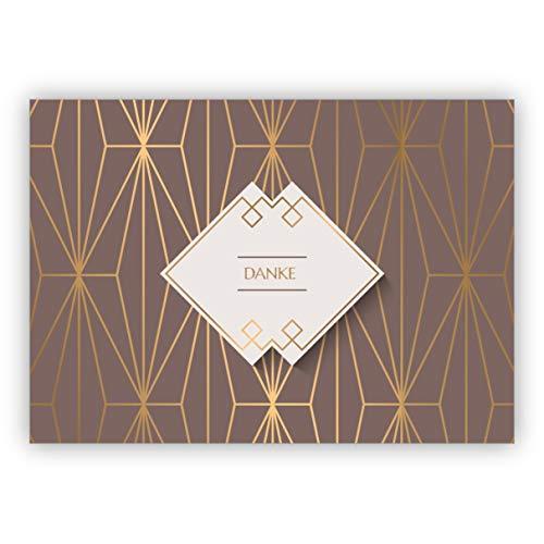 1 Elegante Art Deco Dankeskarte mit Gold Optik in braun für Glückwünsche, Mitarbeiter, Familie & Freunde: Danke • schöne Dankes Grußkarte mit Umschlag, geschäftlich & privat