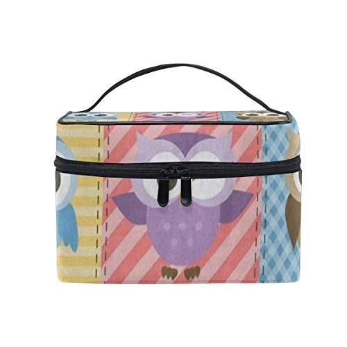 Trousse de maquillage Hibou coloré Oiseau Plaid Check Cosmetic Bag Portable Grand Trousse de toilette pour femmes/filles Voyage