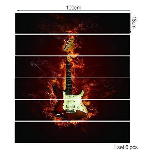 ZXFMTQ 3D Brennende Gitarre Treppen Aufkleber Wandbild E-Gitarre Tapete Dekor Treppen Aufkleber Rockgitarre Treppen Aufkleber