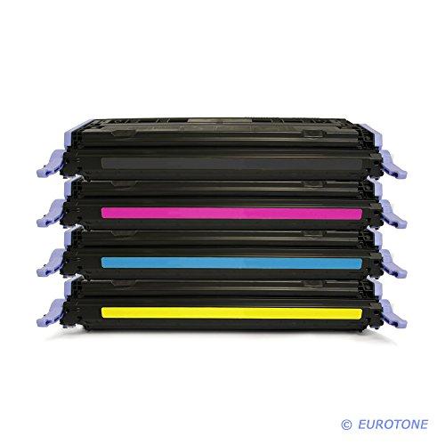 4er Set EOS-Toner remanufactured für HP Color Laserjet 1600 2600 2605 + cm 1015 1017 – kompatibel ersetzt HP Q6000A, Q6001A, Q6002A, Q6003A – Black Cyan Magenta Yellow