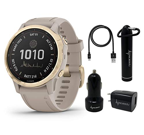 Garmin Fenix 6S Pro Solar Women of Adventure Premium Multisport GPS Smartwatch with Included Wearable4U Power Pack Bundle (Light Gold w/Light Sand Band)