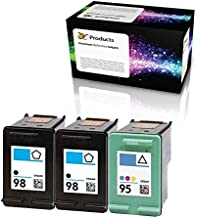 OCProducts Refilled HP 98 and HP 95 Ink Cartridge Replacement for HP Officejet 150 100 H470 PhotoSmart D5160 C4180 2570 8030 8049 (2 Black 1 Color)