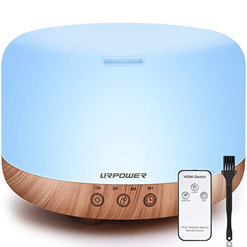 URPOWER 1000ml Essential Oil Diffuser Humidifiers Remote Control Ultrasonic Aromatherapy Diffusers Room Decor Running 20 Hours with Adjustable Mist Mode,Water-less Auto Shut-Off & 7 Color LED Lights