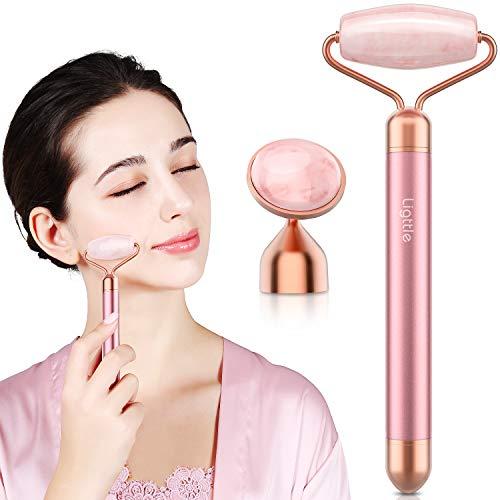 Vibrating Jade Roller for Face - 2 in 1 Electric Face Roller Massager, 100% Natural Rose Quartz Roller Massager, Anti-Aging, Skin Tightening, Reduce Fine Lines and Wrinkles for Face, Eye, Neck