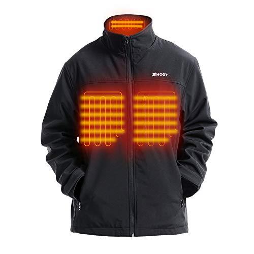 SHOOT Beheizte Jacken Herren Elektrische Heizjacke Wasserdicht Winddicht beheizbare Jacke für Outdoorarbeiten mit Akku und Ladegerät (L)