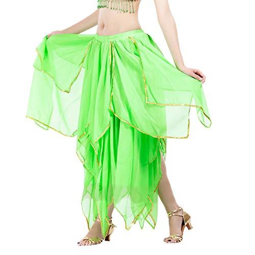 Chiffon Bauchtanz Rock Orientalische Kostüme Damen Seitennaht Glänzende Kante Piebo Frauen Bauchtanz Kleider Orientalische Kostüme Performance Kleid Outfit Bauchtanzröcke Unregelmäßiger Tanzrock