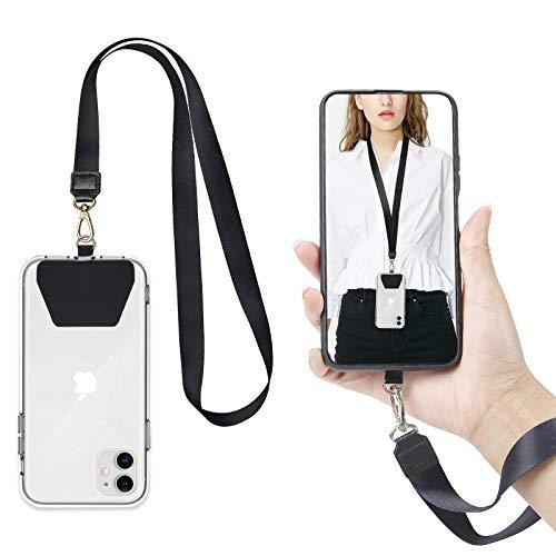COCASES 2er Universale Handykette,Handy Lanyard abnehmbares Umhängeband Schlüsselband kompatibel mit iPhone/Samsung/Huawei(1 Halsband+ 1 Handschlaufe, Schwarz)