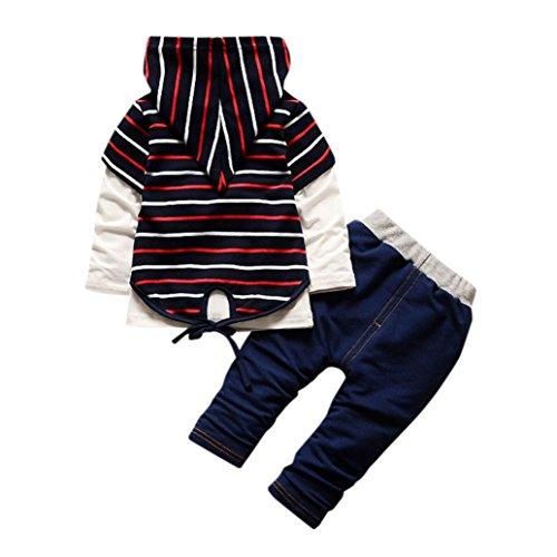 1-3 T Bebe Garcon Pullover Survêtement Ensemble Sweatshirt et Pantalon Oufits (80, Rouge)