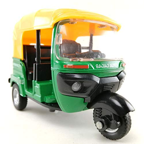 8e8.mona.shop Tuk Tuk India Three Wheels Open Air Taxi Die-cast Model 1:14 Scale Green Color Toy,Car,Collection Hobby,Collectible,Souvenirs,Gift,Decorative