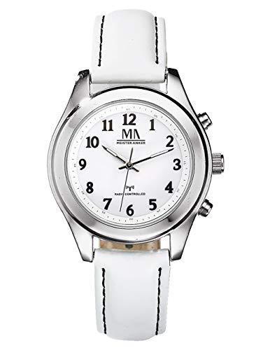 Meister Anker Damen Analog-Digital Uhr in Grau mit Armband in Weiß aus Leder