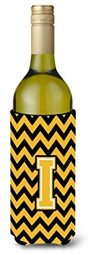 Carta que Chevron negro y dorado para botella de vino bebida Insulator Hugger cj1053-iliterk