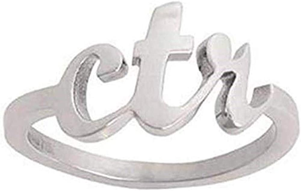 J102 Size 4-10 Stainless Steel Cursive Medium CTR Ring Mormon LDS Unisex One Moment In Time