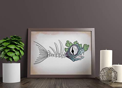 Kunstdruck - Fischgräte - DIN A3, DIN A4 - Geschenk, Deko, Angler, Angeln, Hobby, Fisch