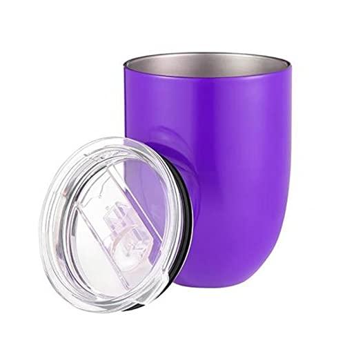 JSJJAHN Taza 10 oz Picnic al Aire Libre Camping Tazas de café con Tapa de Acero Inoxidable sin Tono de Tallo Taza de Bebida de Cerveza Taza de Bebida Taza de té (Color : Purple)
