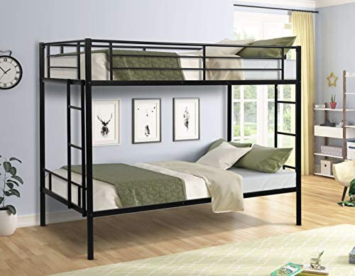 Metal Twin Over Twin Bunk Bed Heavy Duty Space Saving Design Easy Assembly with Safety Guard product image