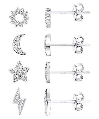 Milacolato 4 Pairs Sterling Silver Tiny Stud Earrings - 14K Gold/White Gold/Yellow Gold Plated Dainty Cubic Zirconia Lightning Bolt Stud Earrings Moon Star Stud Earrings for Women