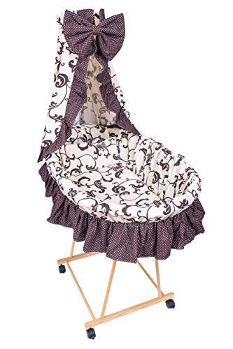Amilian® 9tlg Textile Ausstattung für STUBENWAGEN Bollerwagen Himmel Matratze Baby Bettwäsche Retro Ecru