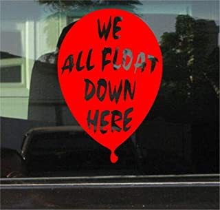 Yilooom Bumper Sticker for Cars, Trucks, Laptops - Pennywise IT WE All Float Down HERE 7 INCH