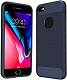 Anjoo Funda Compatible con iPhone 7, Carcasa Carbon Fibre Texture Suave y Flexible TPU Silicona Carcasas Conchoques Protectora Compatible con iPhone 8[antichoque] [antiarañazos], Azul