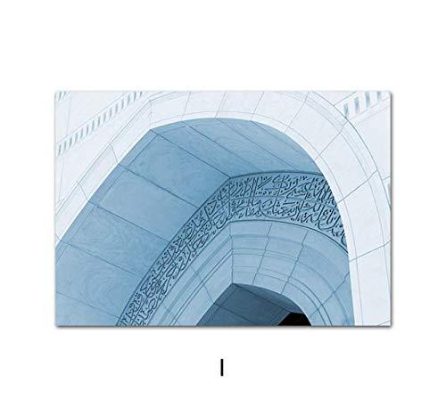 Citas islámicas Alá Poster Mezquita Hassan II Arco marroquí Arte de la pared Impresión en lienzo Decoración musulmana Imagen Pintura Decoración para el hogar 40 × 60 sin marco