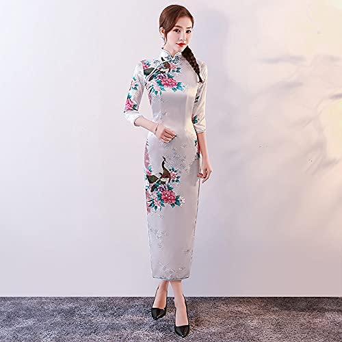 abito donna 6xl CIDCIJN Vestito Cinese - Abito Cheongsam Cinese Tradizionale per Donna Raso Pavone Manica Lunga Qipao Party Abiti da Sposa Abbigliamento per Adulti Plus Size S-6Xl